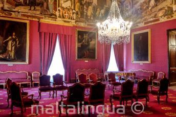 Een staat kamer in het paleis in Valletta