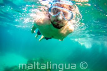 Een student snorkelen