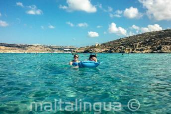 Taal scholieren zwemmen in de Blue Lagoon in Comino
